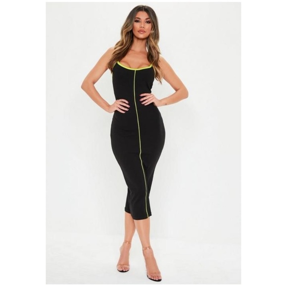 Missguided Dresses & Skirts - Black and Neon Striped Midi Dress